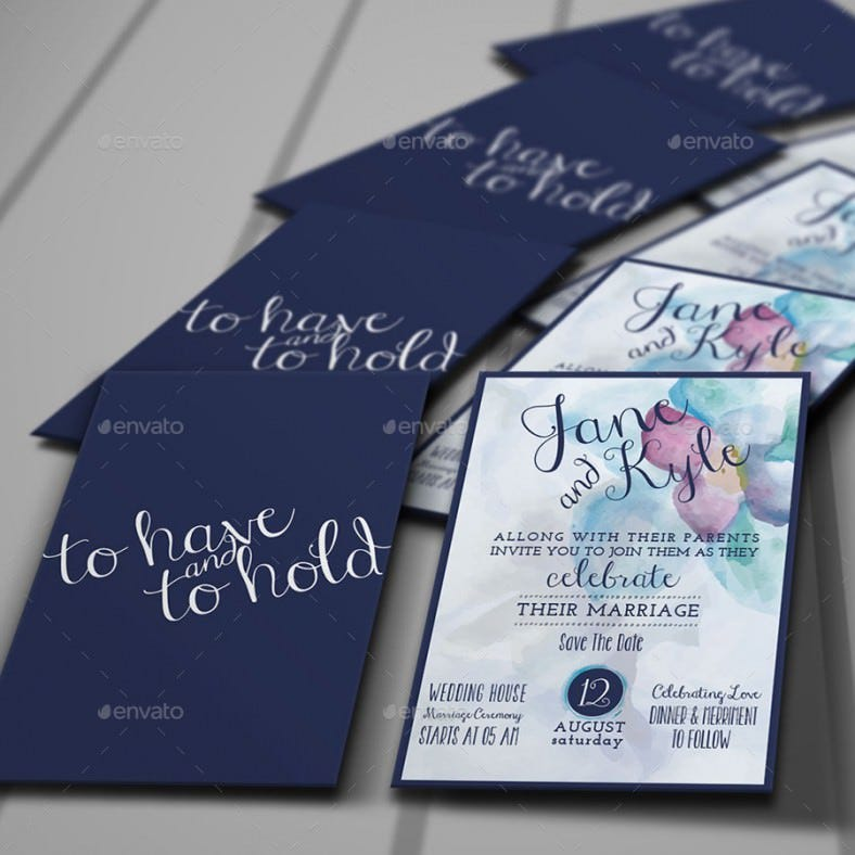 watercolor addressing wedding invitation template 788x788