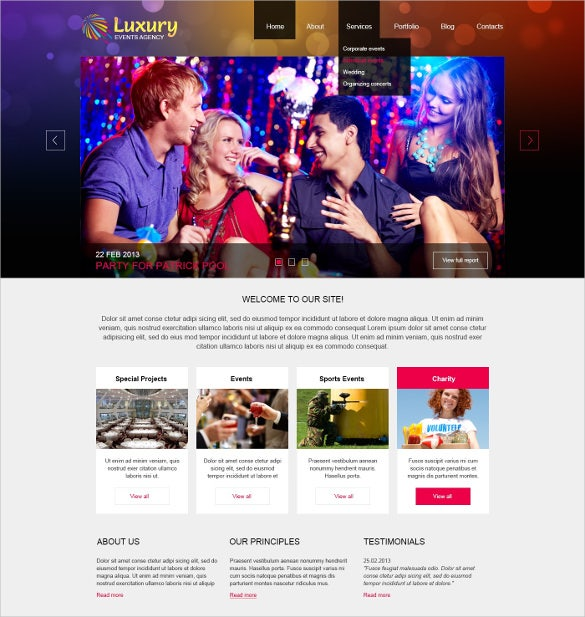 luxury event planner joomla theme