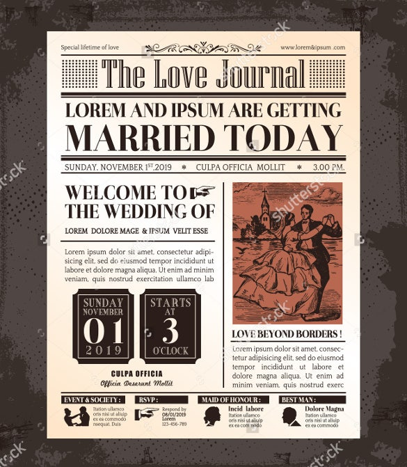 journal wedding newspaper front page template