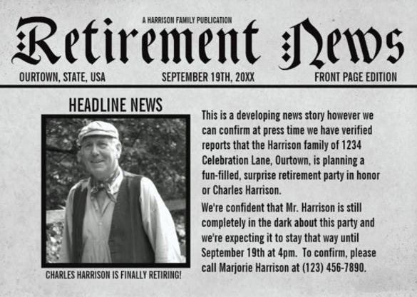 front page newspaper retirement party invitation template download1