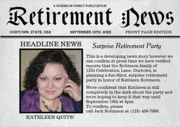 front page newspaper retirement party invitation template