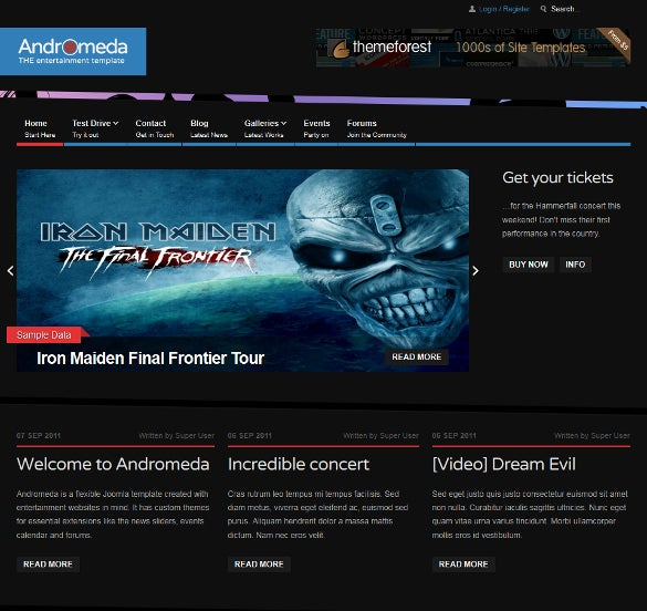 entertainment joomla event template