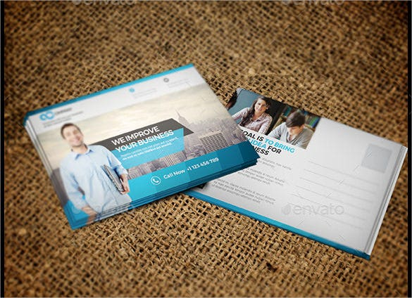 blue colour print ready business postcard1