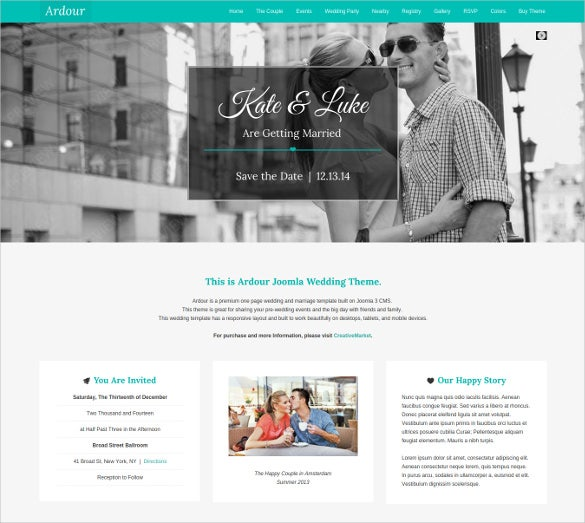 wedding evenet one page joomla theme