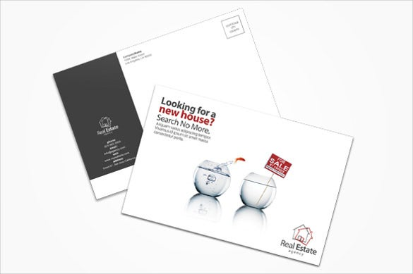 postcard template for real estate in different style
