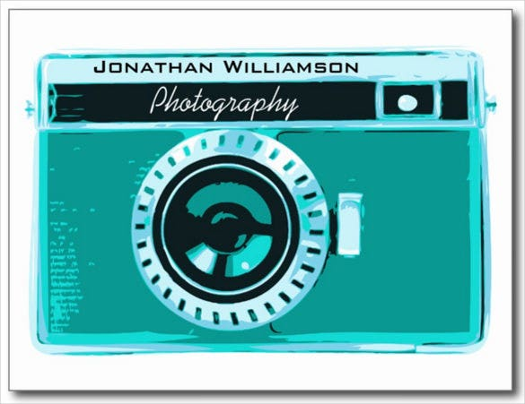 retro tropical aqua camera photography business postcard