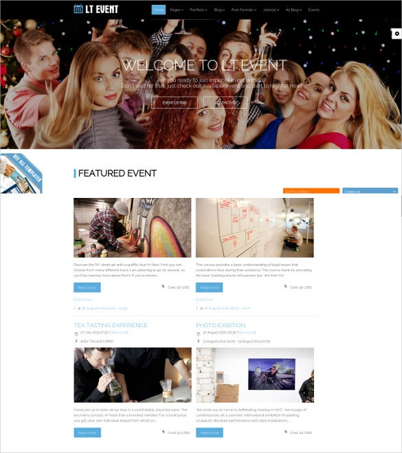 free event joomla template