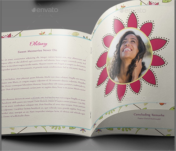 Floral Dreams Funeral Booklet Template