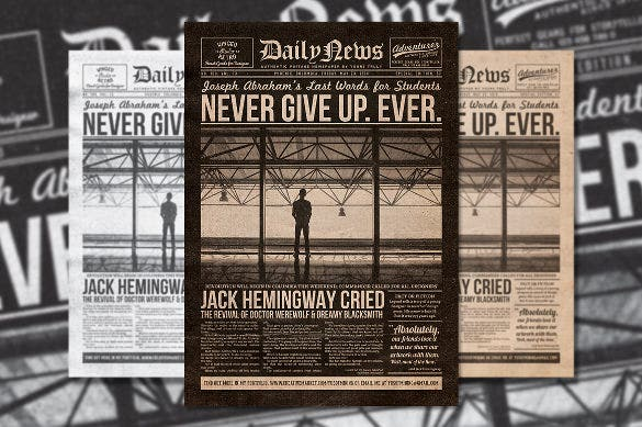 psd format vintage newspaper template download