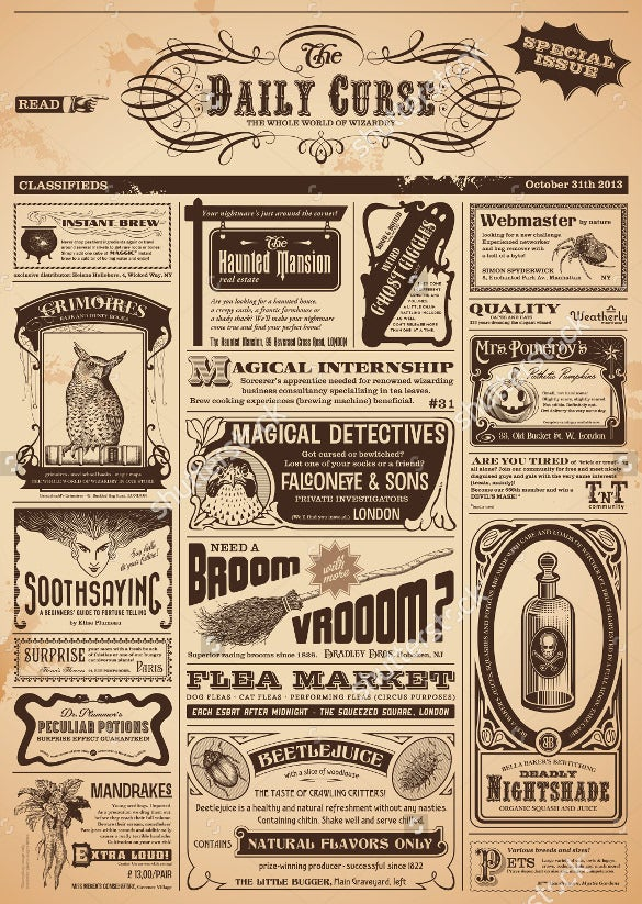 12 vintage newspaper templates free sample example for Paper advertisement templates