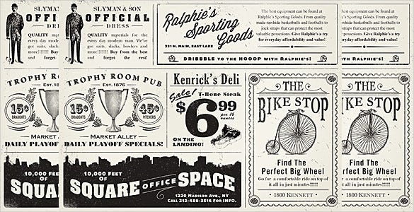 vintage ads newspaper template download