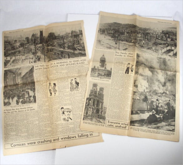 vintage earthquake newspaper template download