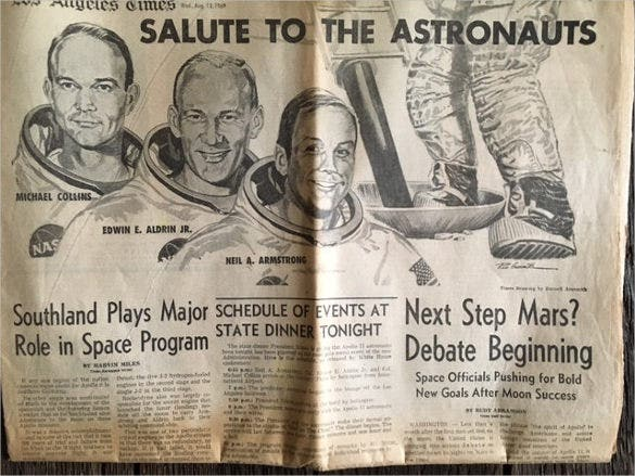 astronauts vintage newspaper template download