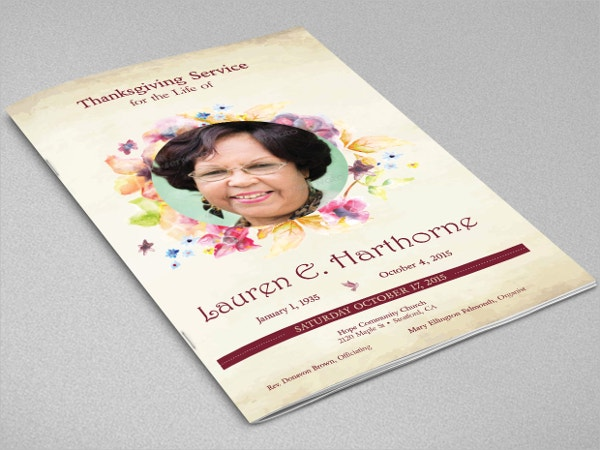 Watercolor Funeral Program Booklet Template