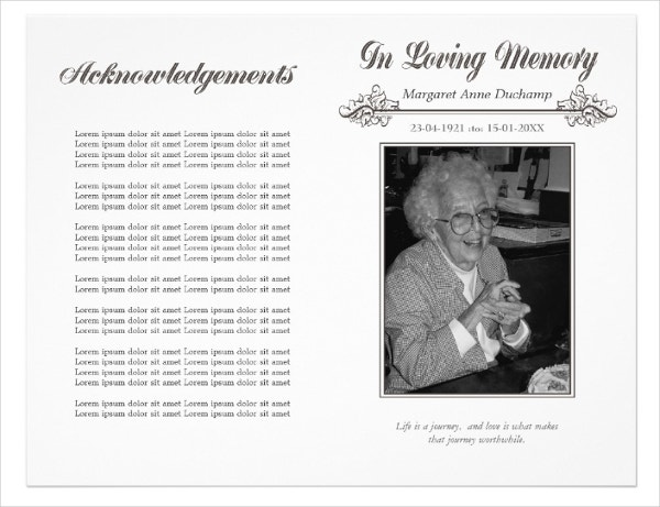 In Memoriam Loving Memory Funeral Booklet Template