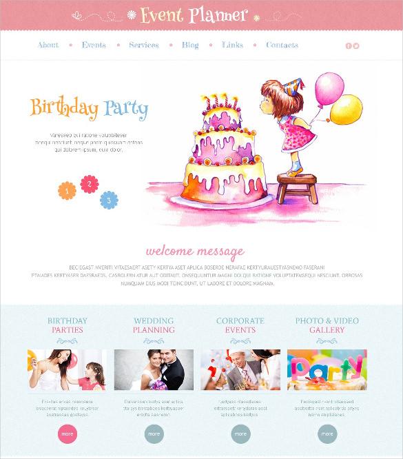 birthday party event wordpress blog theme