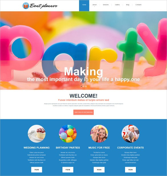 This Peppy Party/event Planner Template Lets You Plan Birthday Parties,  Corporate Events, Weddings Etc. This Responsive Template Offers A Cutting  Edge Of ...