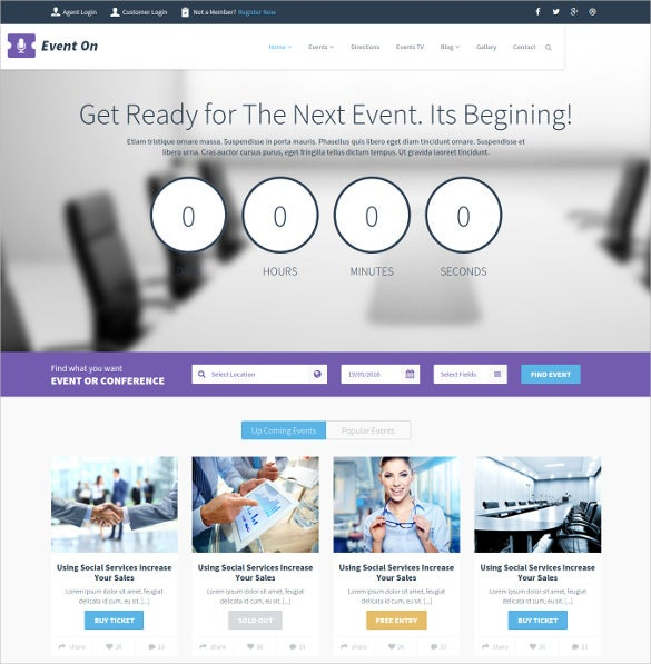 event responsive html blog template