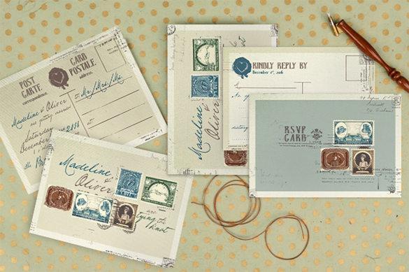 vintage postcard template for wedding invitation