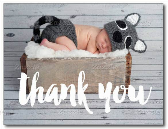 baby announcement thank you postcard
