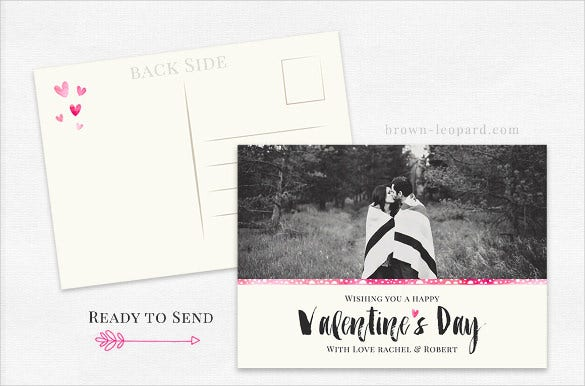 valentines day card 5x7 postcard template