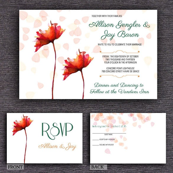red flowers of 5x7 postcard template