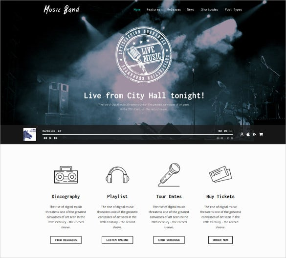 music band live event wordpress blog template