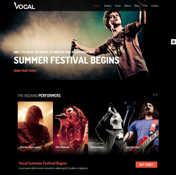 premium responsive events music template