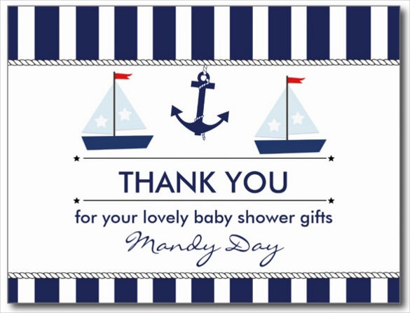 nautical thank you postcard baby shower