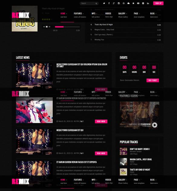 music album event responsive wordpress blog theme
