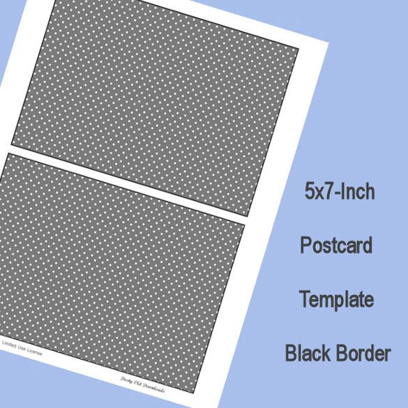black border 5x7 postcard t emplate