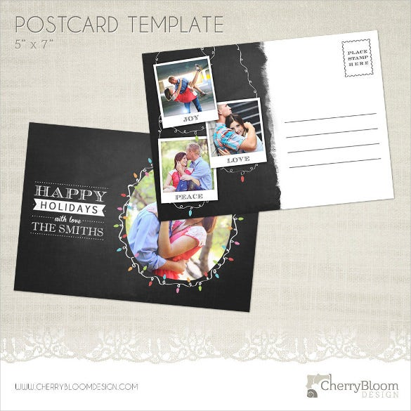 black and white postcard template in 5x7