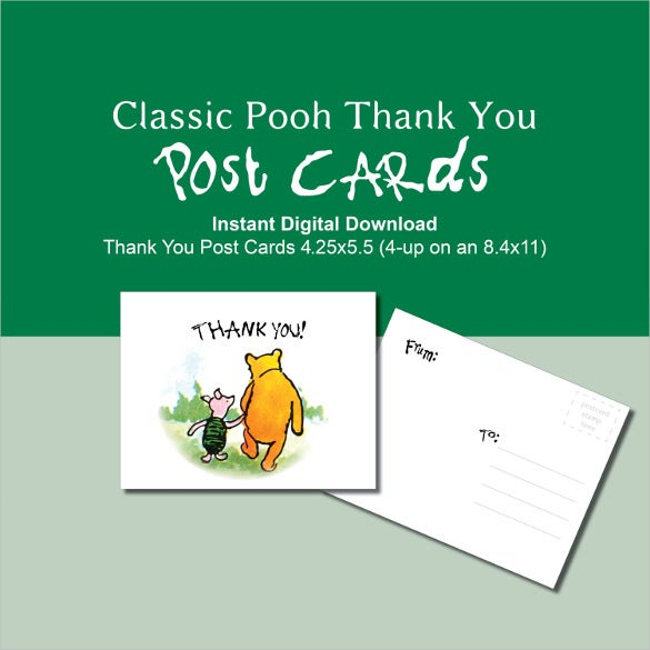 winnie the pooh thank you postcard green classic