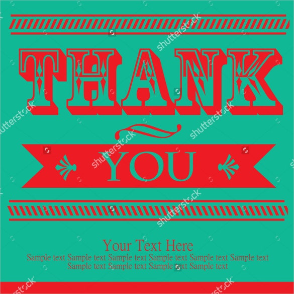 vector illustrated thank you postcard