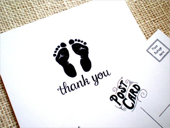baby thank you postcard