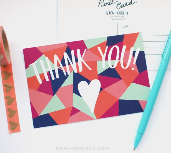 geometric post thank you postcard set