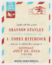Vintage Travel Theme Addressing Wedding Invitation Template