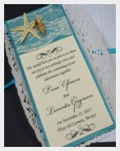 Lace Beach Wedding Invitation PSD Format Template