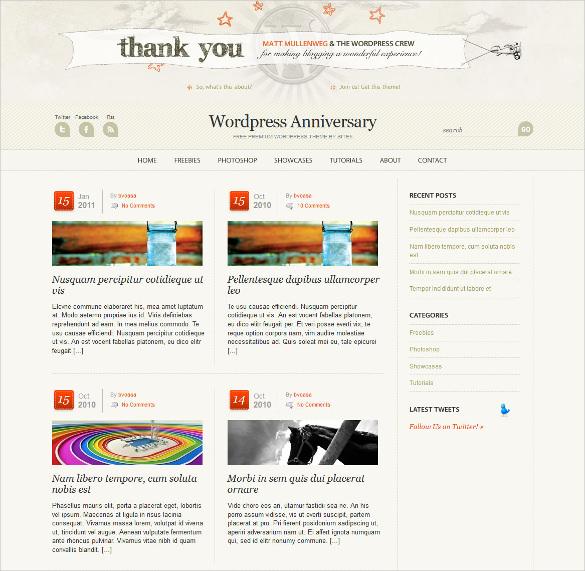 anniversary event wordpress blog template