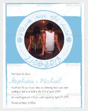 Blue Beach Wedding Invitation PSD Format Template