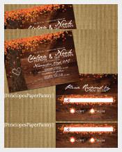 Oak Tree With Colorful Fall Leaves Fall Wedding Invitation