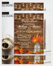 Mason Jar Fall Wedding Invitation PSD Format Template