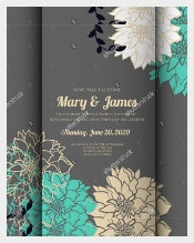 Elegance Pattern With Flowers Country Wedding Invitation