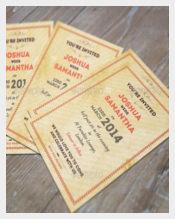 Vintage Modern Wedding Invitation PSD Format Template