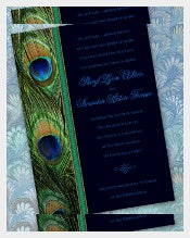 Emerald Peacock Wedding Invitations