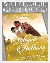 Watercolor Photo Wedding Invitation