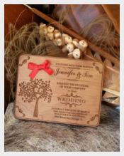 Engraved Wood With Handmade Wedding Invitation