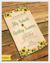 Beautiful Sunflower Wedding Invitation PSD Format