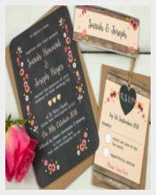 Berry Floral Traditional Wedding Invitation Template