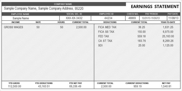 Great Earning Statement Pay Stub Template Online  Paystub Templates